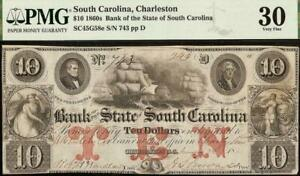 1861-10-DOLLAR-BILL-SOUTH-CAROLINA-BANK-NOTE-LARGE-CURRENCY-PAPER-MONEY-PMG-30