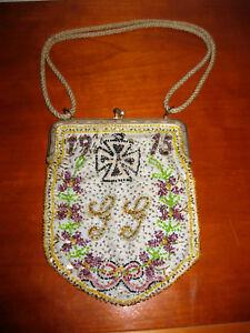 Glasperlentasche KöStlich Im Geschmack 1915 Eisernes Kreuz Geldbörse Beutel Jugendstil Perlentasche
