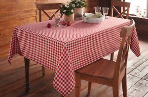 Tischdecke Karo Tafeldecke 140x240cm Rot Beige Kariert Tischdeko