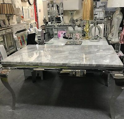 Louis Dining Table With Grey Solid Marble Top 1 5 M Long Stunning Dining Table Ebay