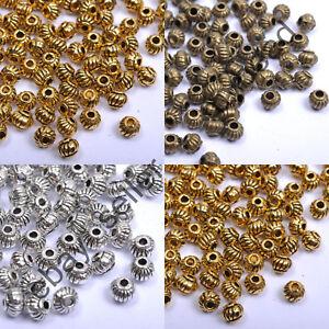 200Pcs-Tibetan-Silver-Gold-Bronze-Round-Barrel-Lantern-Ball-Spacer-Beads-5MM