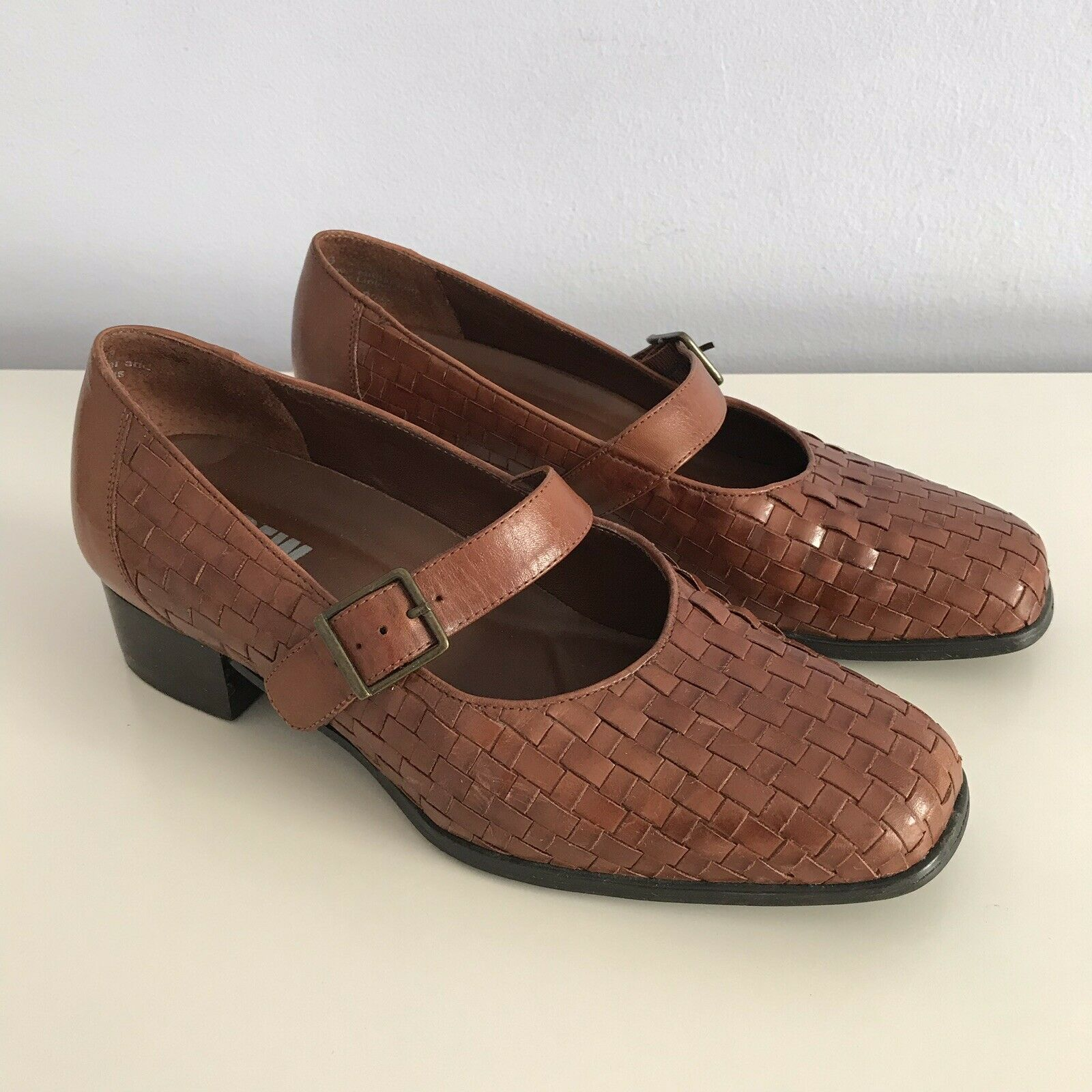 Drew TRISH Woven Pumps Mary Jane Loafers Womens 6.5 - Brown Leather Basket Weave
