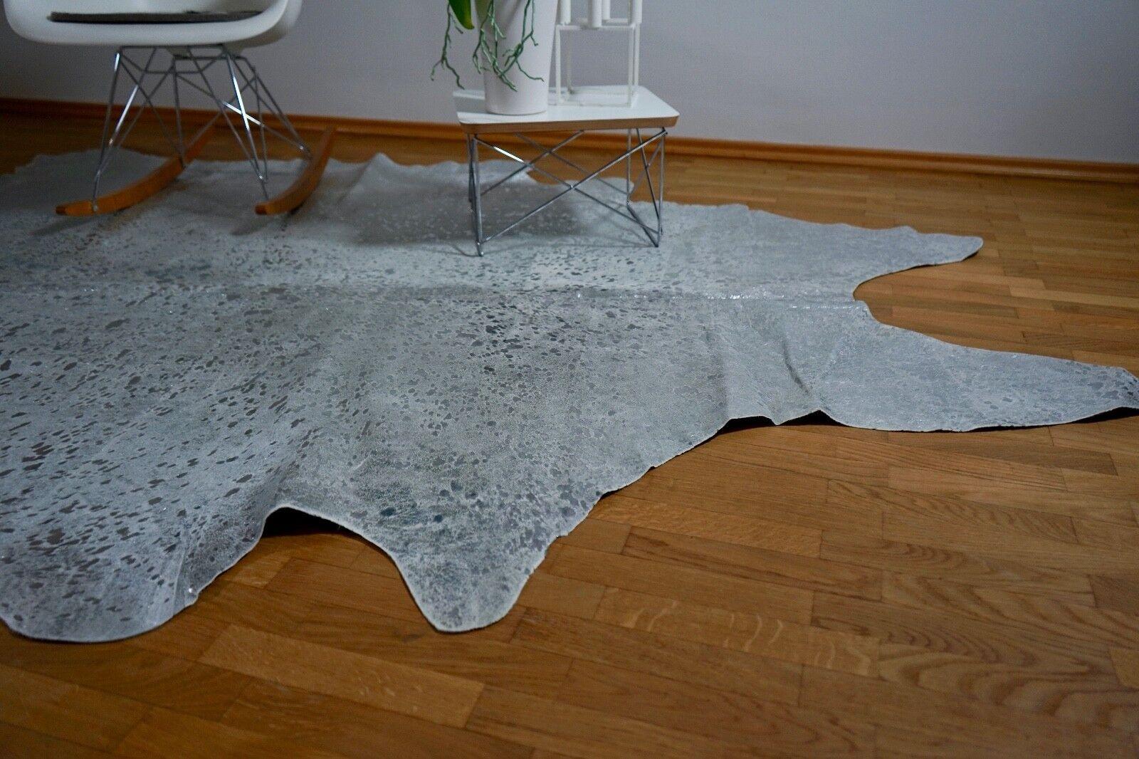 Peau rinderfell Metallic Metallic rinderfell gris clair argent-environ 220 cm x 207 cm, Neuf, rug 53dc7b