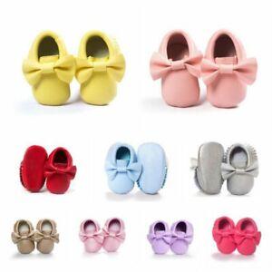 Baby-Kids-Fringe-Soft-Sole-Moccasin-Boy-Girl-Toddler-Leather-Crib-Shoes-0-18M-AU