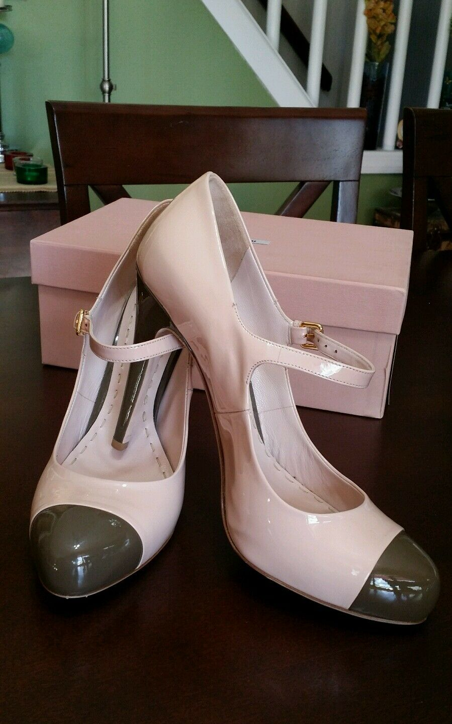 PRADA MIU MIU,  VERNICE CIPRIA ARGILLA 40  MARY JANE NUDE CAP TOE 40. WITH BOX