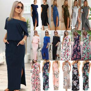 Womens-Boho-Holiday-Off-Shoulder-Maxi-Dress-Split-Summer-Beach-Party-Long-Dress