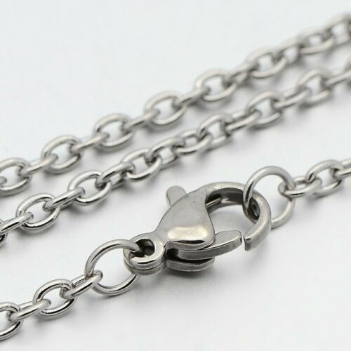 5pc 304 Stainless Steel Cable Chain Necklaces with Lobster Claw Clasps 17.7/""