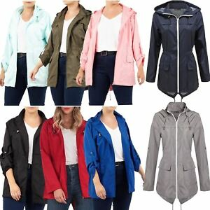 New-Ladies-Hooded-Plain-Contrast-Zip-Showerproof-Parka-Raincoats-Jackets