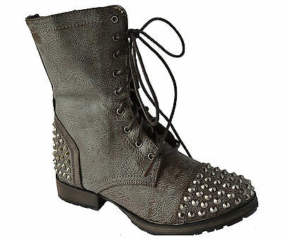 Stone Women's Studded Spike Lace Up Military Mid Calf Combat Boots Size 6~11