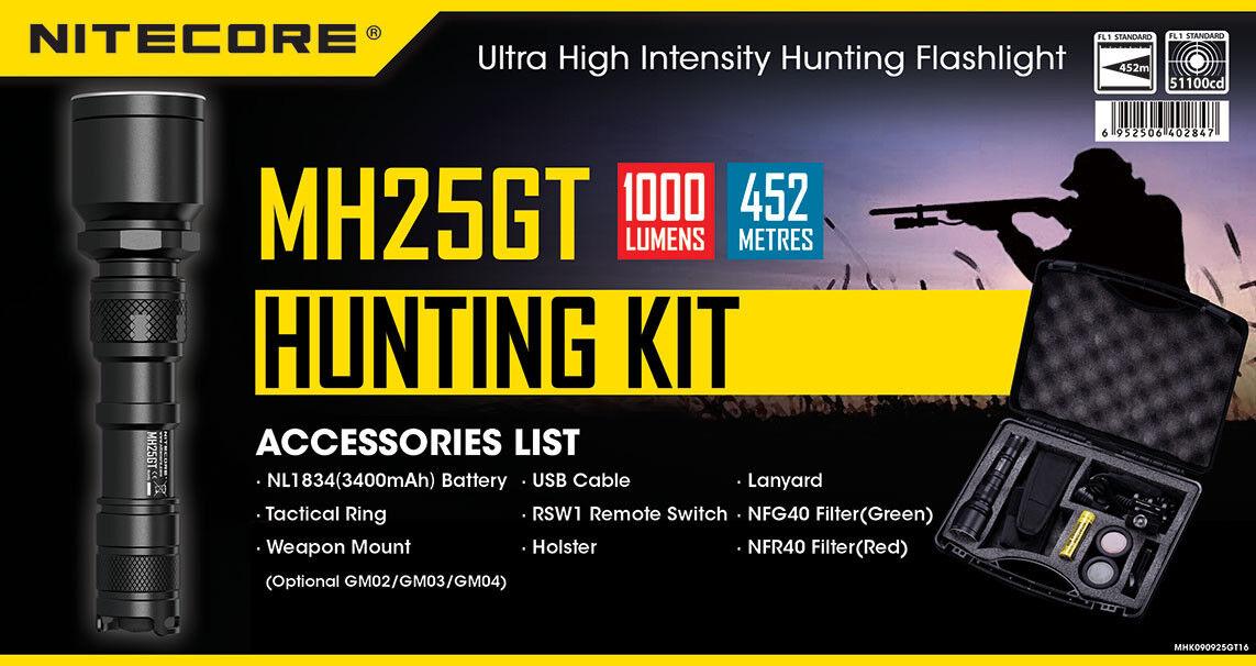 Nitecore Mh25gt Multi Task Hybrid Protator Jagd Beleuchtungs-Set Mh25gtkit