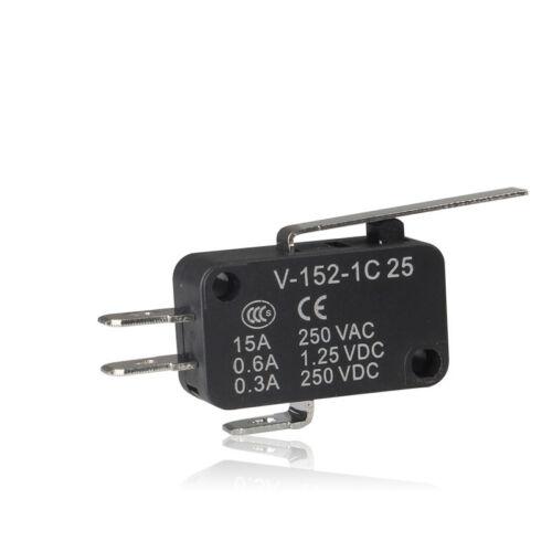 Long Charnière Levier AC DC Contrôle 10pcs Micro Limit Switch inverseurs 1NO 1NC momentanée