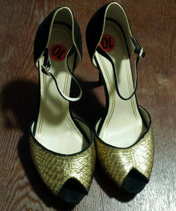 Juicy Couture Bout Ouvert Plateforme Escarpins-Adria, Or Noir, Taille 10 M ORG 370
