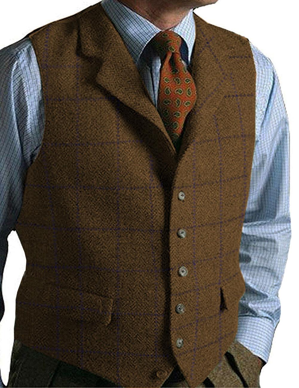 Brown Mens Herringbone Vintage Vests Wool Notch Lapel Tweed Waistcoat Slim SXL+