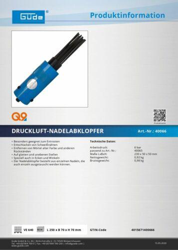 Güde Druckluft Nadelabklopfer Nadelentroster Aufsatz Druckluft-Meißel-Hammer