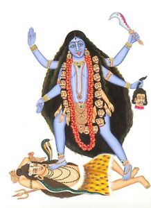 Goddess-Kali-Hindu-Religious-Painting-On-Silk-Cloth-Handmade-Work-Wall-Hanging