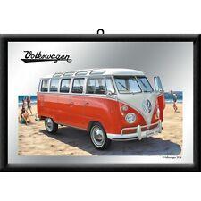Barspiegel VW Bulli - Samba Bus Beach,  20 x 30 cm Retro Nostalgie, Werbung