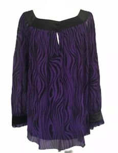 JAEGER-L-14-16-Purple-Black-Animal-Stripe-Blouse-Christmas-Party-Top-Psychedelic
