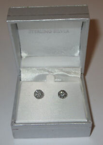 Rhinestone-Fireball-Earrings-Gray-Pierced-Sterling-Silver-New-in-Box-7mm-Grey