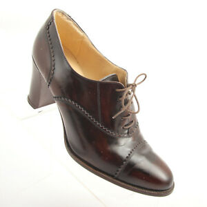 Liz-Claiborne-Cap-Toe-Distressed-Granny-Shoes-Heels-Italy-Womens-Size-7-5-Cute