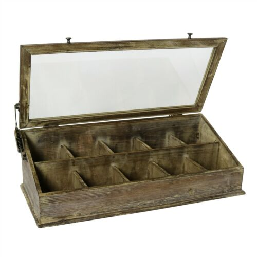 Vintage Antique Style Wood Glass Tabletop Display CaseHinge Lid Divided