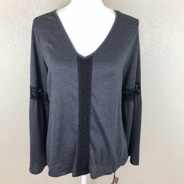 Knox Rose Womens Small Crochet Bell Sleeve Knit Shirt Blouse Top Black Grey New