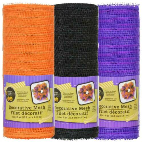 5 yd Roll Black Purple Orange w Crafter/'s Square Decorative Halloween Mesh