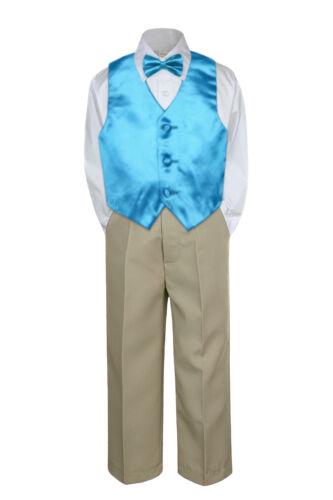 4pc Boy Suit Set Turquoise Blue Vest Bow Tie Baby Toddler Kids Formal Pants S-7