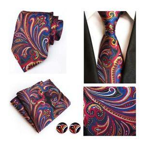 Tie-and-Pocket-Square-Cufflinks-Set-Blue-Red-Yellow-Handmade-100-Silk-Mens