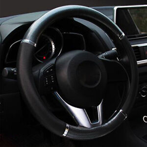 Car-Black-Carbon-fiber-Leather-Steering-Wheel-Cover-38cm-15-039-039-fashion-2018-new