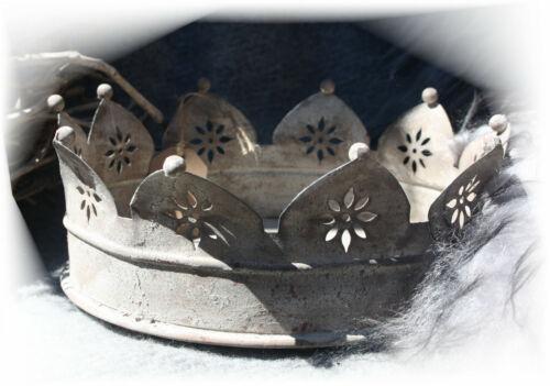 Tablett DEKO-SCHALE METALL SHABBY Chic Grau Antik Vintage Landhaus Krone Lilie