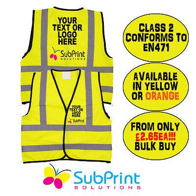 Black Bespoke Custom Printed Workwear Hi Vis Safety Vest EN471 Waistcoat