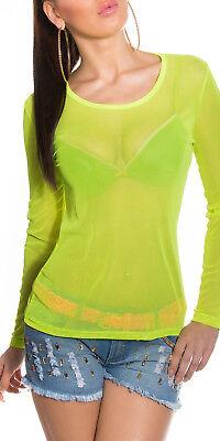 Sexy Maglia Maglietta Trasparente Verde Acido Fluo Maniche Club Rave Wear Top OS