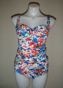 La-Blanca-women-039-s-4-blue-red-floral-tankini-swimsuit-set-twist-front-ruched