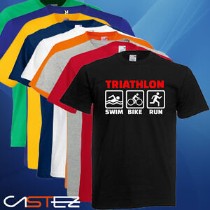 1d7d4dadbfe1 T SHIRT MAGLIA TRIATHLON CORSA NUOTO SWIM BICI BIKE IDEA REGALO FLUO UOMO  DONNA T-shirt