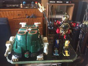 Vintage Morphin Power Rangers Thunder Megazord et Tor la navette Zord