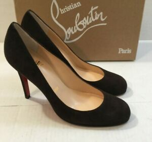 5251a42f1888 Image is loading New-Christian-Louboutin-Simple-Brown-Suede-100mm-Pump-