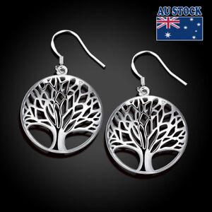 New-Women-925-Sterling-Silver-Filled-Tree-of-Life-Drop-Dangle-Earrings-Hook
