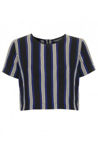 Topshop Blue /& Black Short Sleeved Heavy Crepe Crop Top