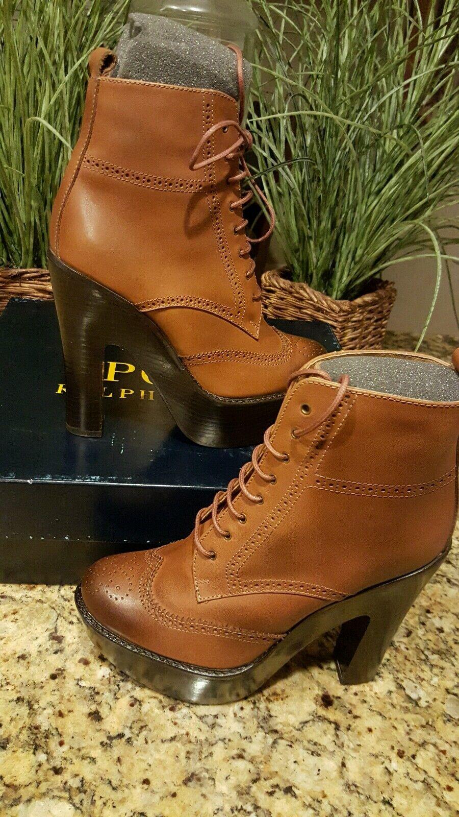 Ralph Lauren Women's Calfskin Leather Breckin Heeled Bootie Size 7.5 THESPOT917
