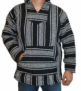 Small Baja Hoodie Hippie Surfer Mexican Poncho Sweater Drug Rug