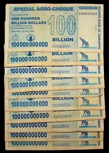 Details About 10 X Zimbabwe 100 Billion Dollar Agro Cheque Banknotes