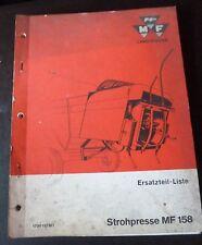 Massey Ferguson Mähdrescher Strohpresse MF158 Ersatzteilliste