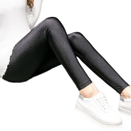 Fashion Women Ladies Girl Black Stretchy Pants Summer Thin Shiny Leggings