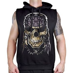 a812cd1e58e7d5 Men s Pirate Skull Black Sleeveless Vest Hoodie Workout Fitness Gym ...