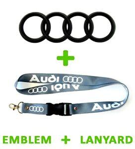 2.25 x 7 inch Hatch AUDI Trunk BLACK Rear 4 Ring Logo Badge Emblem