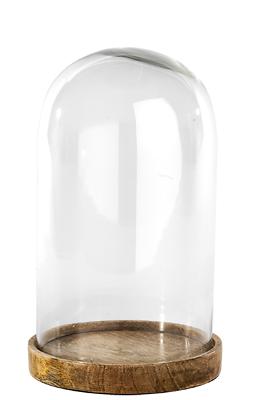 Di Animo Gentile Inu Medium Visualizzazione Ornamento Vetro Cupola Con Base In Legno 30 Cm Da Nkuku- Senza Ritorno