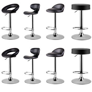 Amazing Details About High Bar Chairs 2 Pieces Leather Adjustable Swivel Stool Pub Backrest 4 Types Uk Andrewgaddart Wooden Chair Designs For Living Room Andrewgaddartcom