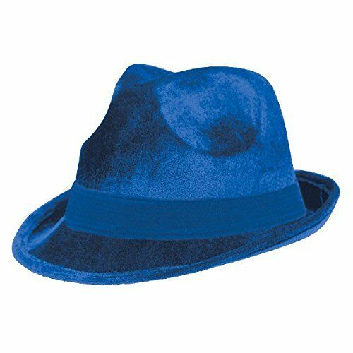 """1 Piece Blue 5.75/"""" x 9/"""" Suede Like Velour Fedora Hat w// Matching Color Hatband"""