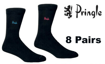 Pringle Trouser Socks 4 Pairs Fits Size 7,8,9,10 /& 11 All Black New Mens 4 Pair
