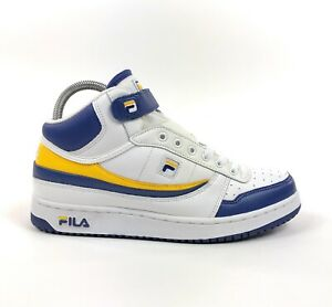 Fila-BB84-Mid-Strap-White-Blue-Yellow-Mens-Retro-Size-10-5-Shoes-Sneakers